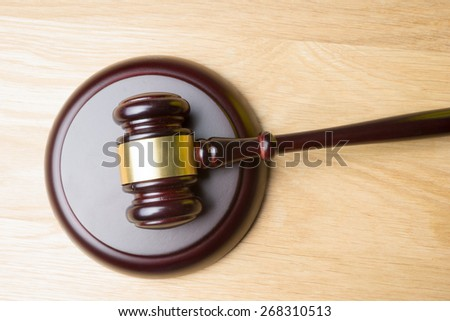 judge hammer on table