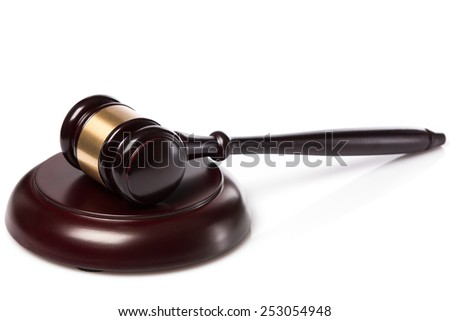 Judge hammer on white background - stock photo