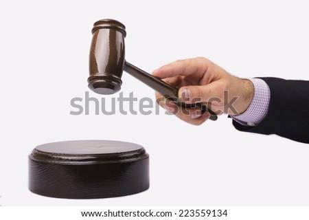 judge hand with gavel - stock photo