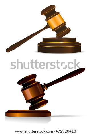 Judge or auctioneers gavel resting on a wooden plinth in two shapes