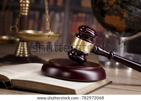Judge`s gavel and law books.constitutional crisis