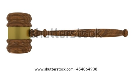 Judge's Gavel Isolated on White Background 3D Illustration