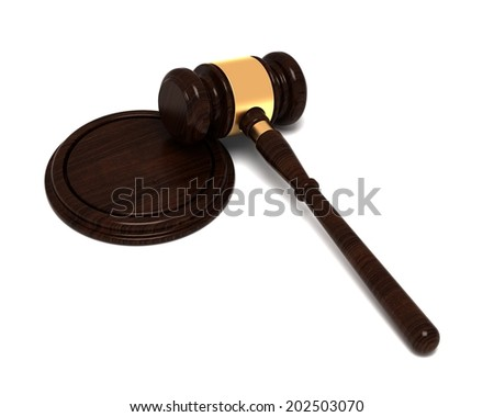 Judge's Hammer , Gavel, Wood and Gold