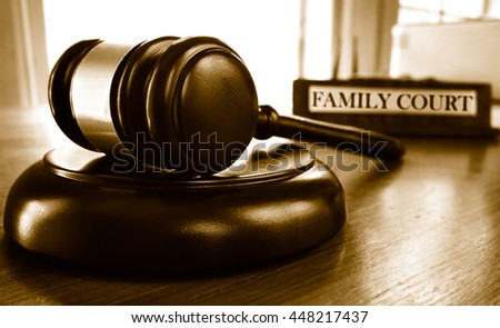 Judge's legal gavel and Family Court nameplate
