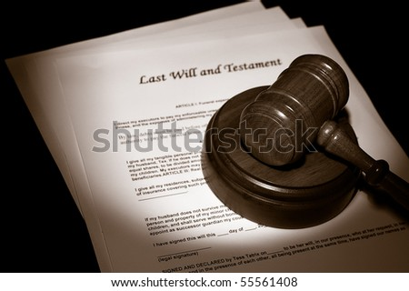 judge's legal gavel on Last Will documents - stock photo