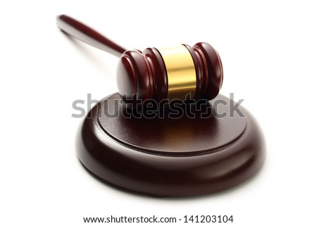 Judge's wooden gavel and block