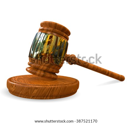 Judge's wooden gavel with golden rim isolated on white background. Gavel on stand and scale on reflection. Gavel illustration for business, finance and criminal judge decisions and verdicts - stock photo