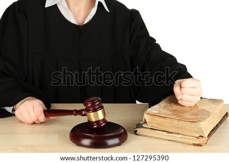 Judge sitting at table during court hearings isolated on white