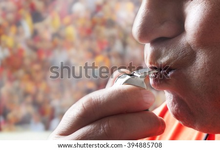 Judge. whistle. Championship. fans. - stock photo