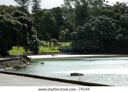 Judges Bay - Urban Public Beach at Auckland New Zealand - stock photo