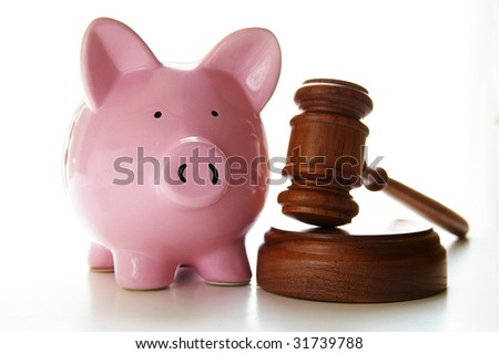 judges court gavel and piggy bank, on white - stock photo