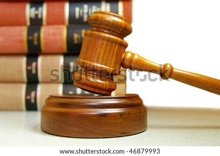 judges court gavel and stacked law books - stock photo