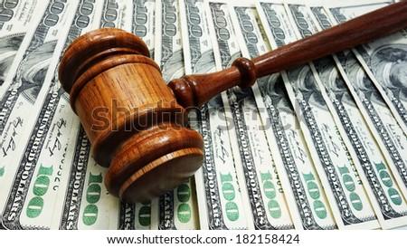 Judges court gavel on money                                - stock photo