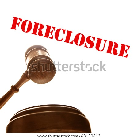 judges court gavel with foreclosure text, on white - stock photo