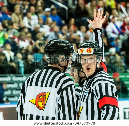 Judges during 2014 IIHF World Ice Hockey Championship match at Minsk Arena on May  2014 in Minsk, Belarus. - stock photo