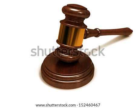 Judges gavel, close-up on a white background.