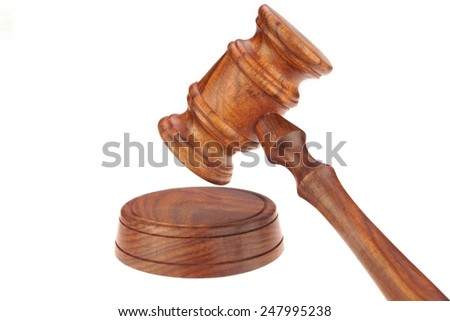 Judges or Presiding Officer or Auctioneers Hardwood Gavel and Sound Board Isolated on White Background
