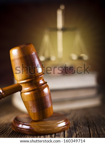 Judges wooden gavel and law Scales   - stock photo