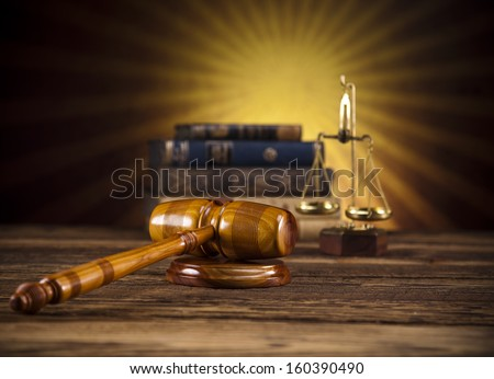 Judges wooden gavel and sunset  - stock photo