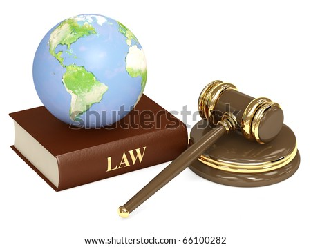 Judicial 3d gavel and Earth. Objects isolated over white - stock photo