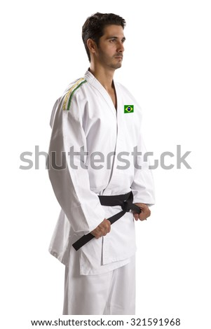 Judo fighter from Brazilian country on white background
