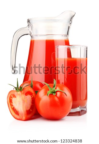 Jug and glass of tomato juice with fruits isolated on white
