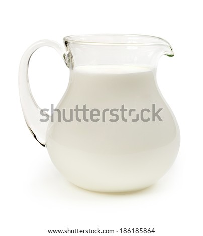 Jug of milk isolated on white background - stock photo