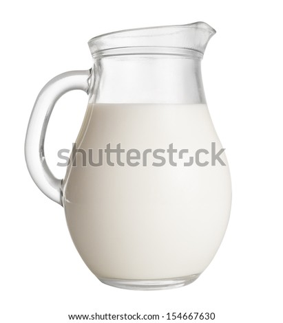 jug of milk isolated on white. clipping path included - stock photo