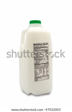 Jug of milk with nutrition label isolated on white background - stock photo