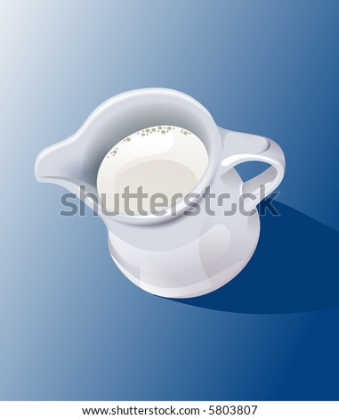 Jug with the milk. - stock photo