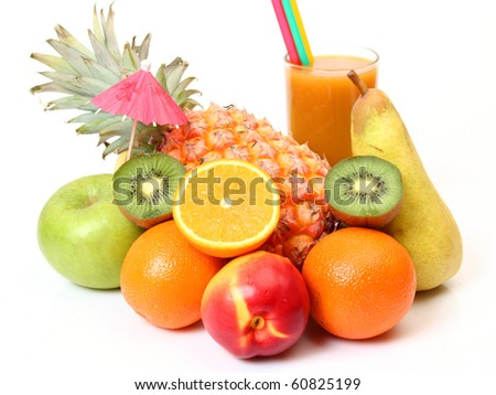 Juice and fruit - stock photo