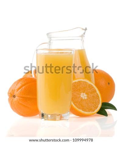 juice and orange fruit isolated on white background - stock photo