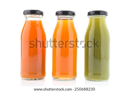 Juice bottle isolated on white background - stock photo