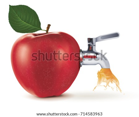 Juice flowing from apple through the tap, isolated on white 3D illustration