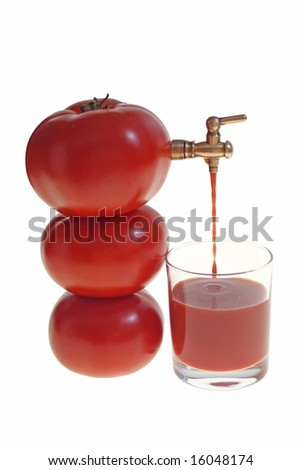 juice flowing from tomato to glass isolated on white background