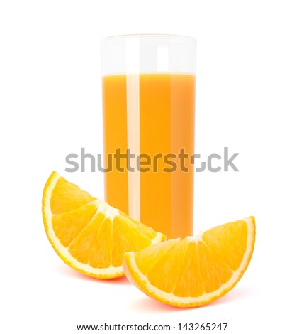 Juice glass and orange fruit isolated on white background cutout