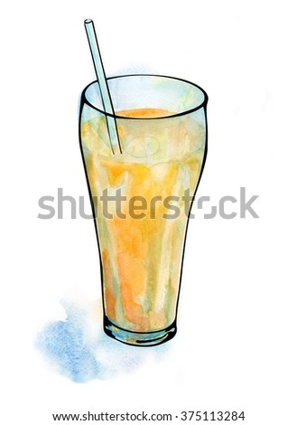juice in a glass, watercolor illustration