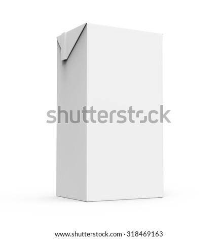 Juice, milk white carton box isolated on a white background