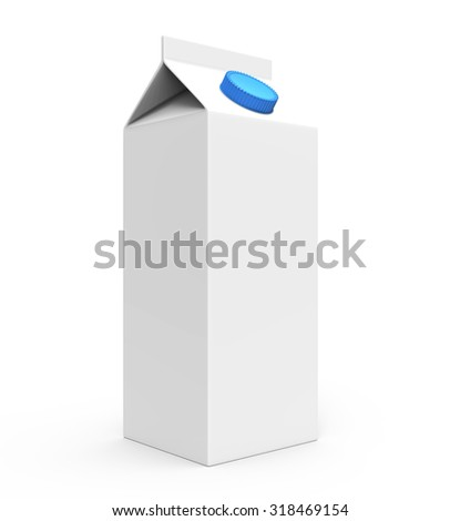 Juice, milk white carton box with blue cap isolated on a white background