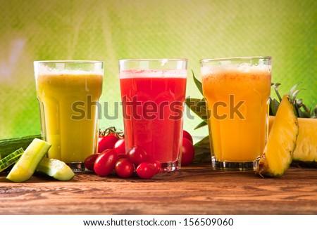 juice on wood - stock photo