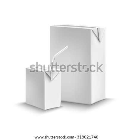 Juice or milk liquid package set with cardboard boxes with drinking straw  illustration - stock photo