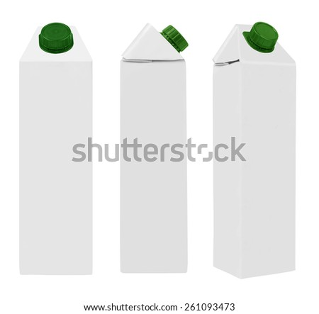 Juice or milk package isolated on white background
