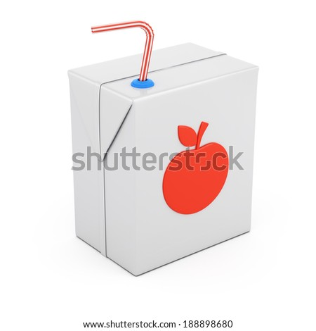 Juice package isolated on white background. 3d rendering illustration - stock photo