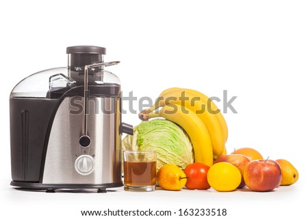 juicer with fruit on a white - stock photo