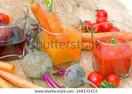Juices from organic vegetables - freshly squeezed