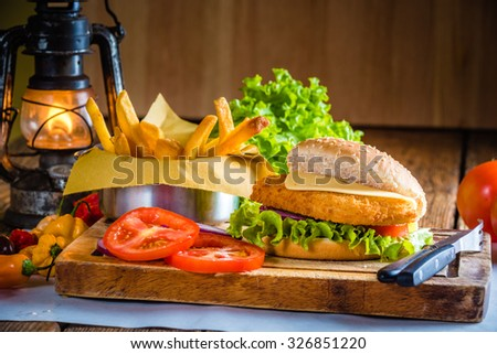 Juicy and delicious looking chicken burger with fried potatoes - stock photo