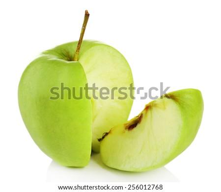 Juicy apple isolated on white - stock photo