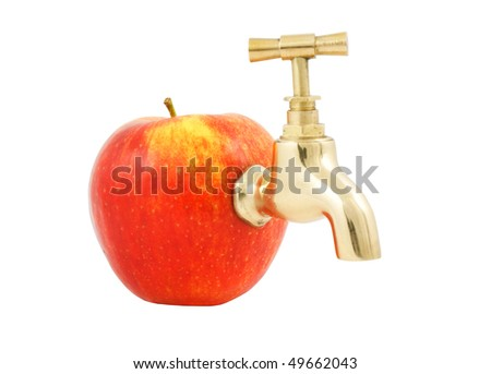 Juicy apple with faucet isolated on white background - stock photo