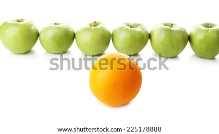 Juicy apples and orange, isolated on white - stock photo