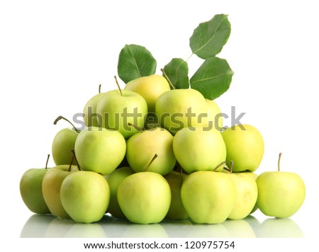 juicy apples with green leaves, isolated on white - stock photo